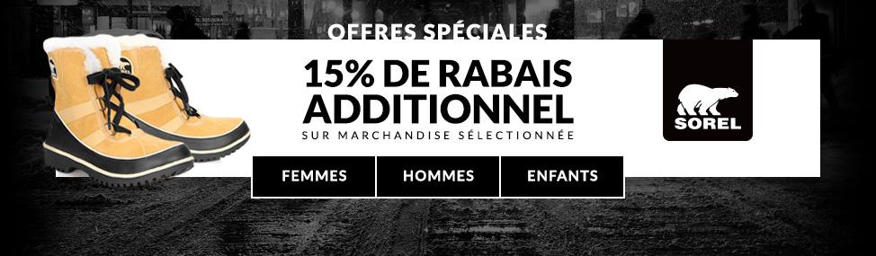 15% de rabais additionnel sur marchandise sélectionnée.